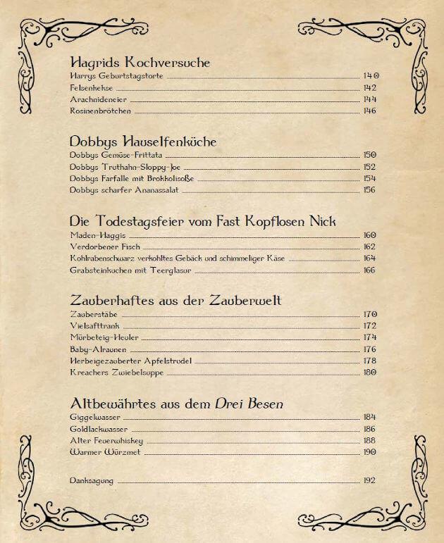 Eine Seite des Inhaltsverzeichnis vom inoffiziellen Kochbuch für Harry Potter Fans