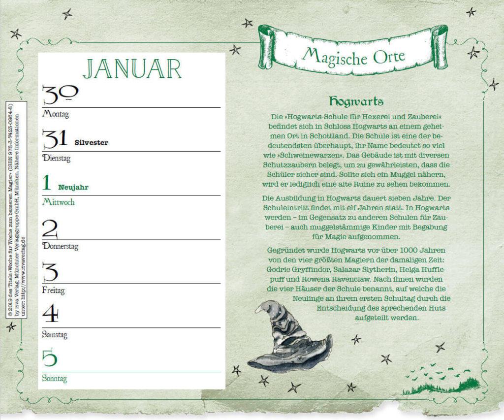 Beispiel-Woche Magische Orte im inoffiziellen Harry Potter Kalender 2020